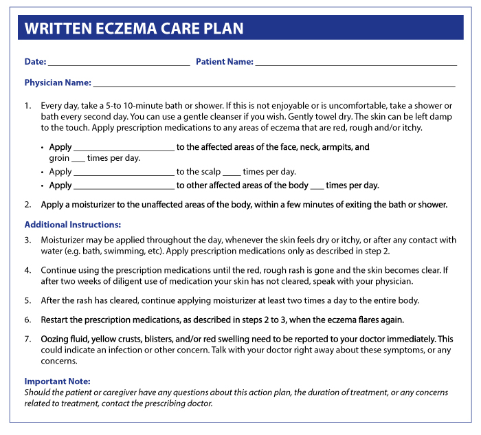 Sample Written Eczema Care Plan