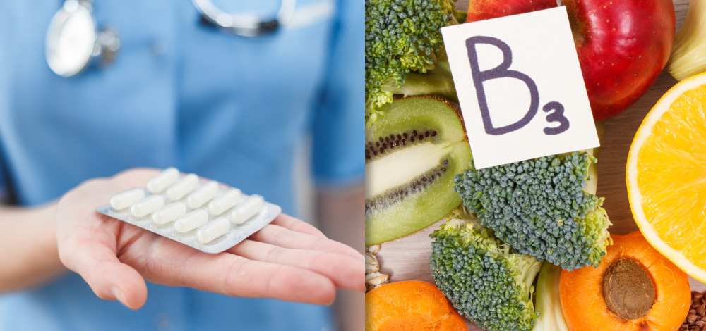 image of oral medication and foods that contain B3 vitamin