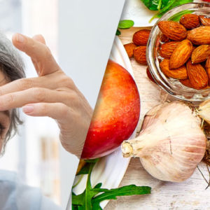 collage image of woman's aging face and healthy food
